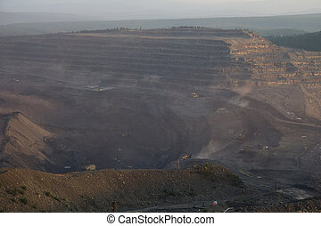 Panoramic view of the coal mine in Neryungri in Russia
