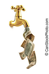 money tap - tap with money flowing against white background