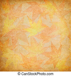 Fall Leaf Mosaic - A group of autumn leaves with vintage...