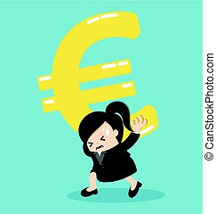 Business Woman silver euro money symbol on shoulder and worry