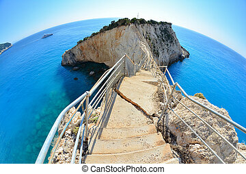 Broken stairs, Porto Katsiki - Stairs to peninsula, broken...