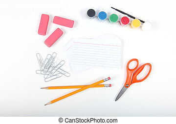 School office supplies on a white background - Paper and...