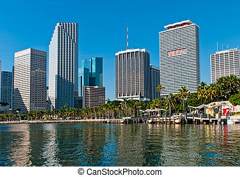 Miami Bayfront Park and downtown - View of Bayfront Park and...