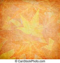 Fall Leaves on Vintage Paper. - Fall leaves with vintage...