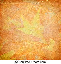 outono, folhas, vindima, papel