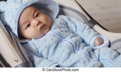 Newborn baby boy sitting in a car seat with safety belt...