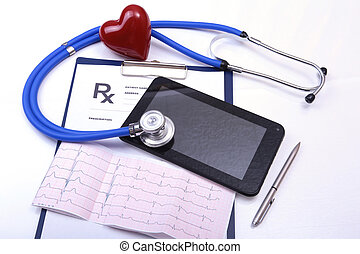 Closeup of stethoscope on a rx prescription, red heart and phone isolated on white background.