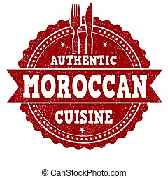 Moroccan cuisine stamp - Moroccan cuisine grunge rubber...