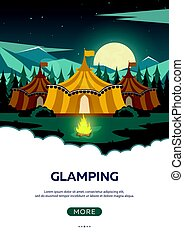 Glamping. Glamor camping. Campfire. Pine forest and rocky...