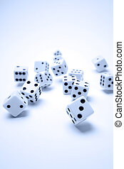 Dice - Group of dice falling. Blue tone. Vertical