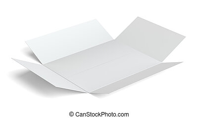 White open blank cardboard box. Isolated on white background...