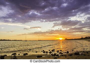 City of Tavira Gilão river sunset panoramic view, at Algarve...