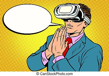 Prayer of VR reality, religion and technology. Pop art retro...