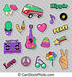 Fashion Hippie Badges, Patches, Stickers with Van Mushroom Guitar and Feather. Vector illustration