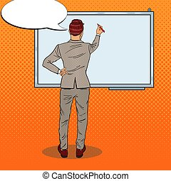Business Trainer Drawing on the Whiteboard. Pop Art vector illustration