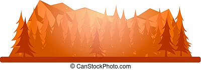Nature autumn mountains landscape. Rocky mountains and pine...