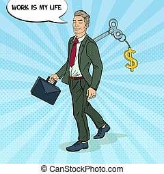 Robotic Businessman Going to Work with Key of his Back. Pop...