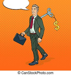 Mechanical Businessman Going to Work with Key of his Back....