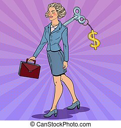 Business Woman with Dollar Sign Key on her Back. Work...