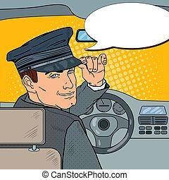 Limousine Driver in Uniform. Chauffeur Saluting Passenger....