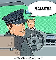 Limousine Driver. Chauffeur Saluting Passenger. Pop Art...