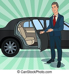 Driver Waiting ner Black Limousine. Chauffeur of Luxury Car....