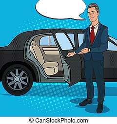 Driver Standing ner Black Limousine. Chauffeur of Luxury...