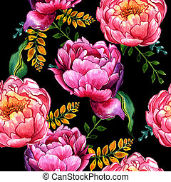 Wildflower peony flower pattern in a watercolor style...