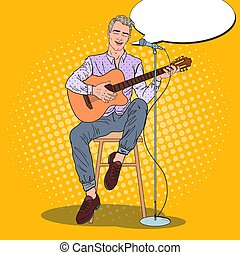 Guitar Player Singing Song in Microphone. Pop Art vector illustration