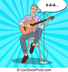 Guitar Player Singing Song in Microphone. Acoustic Concert. Pop Art vector illustration