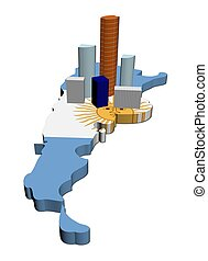skyscrapers on Argentina map flag - abstract skyscrapers on...