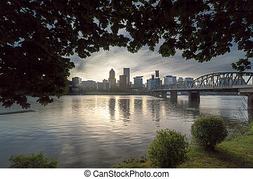 Portland Skyline Under the Trees at Sunset - Portland Oregon...