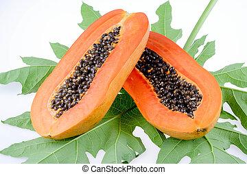 ripe papaya isolated on the white background.