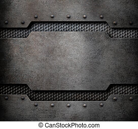 metal plaque background with rivets 3d illustration