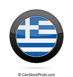 Flag of Greece. Shiny black round button.