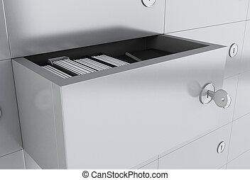 3d Open file cabinet with folders
