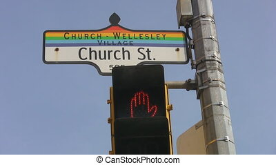 Church and Wellesley. - Church street sign at the...