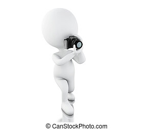 3d White people taking a picture with camera - 3d...