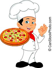 boy chef cartoon with pizza