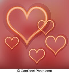 shining gold hearts on a red background