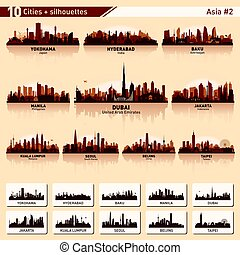 City skyline set 10 vector silhouettes of Asia #2 - City...
