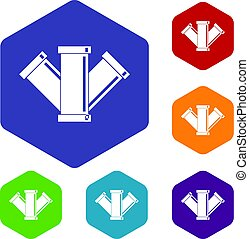 Sewerage icons set hexagon isolated vector illustration