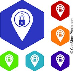 Geo tag with tram sign icons set hexagon isolated vector...