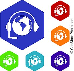 World planet and headset icons set hexagon isolated vector...