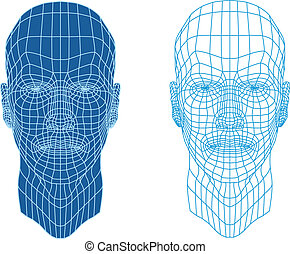 wireframe faces - male face with futuristic mesh texture,...