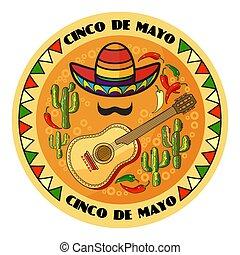 Vector illustration of Cinco ge Mayo Day. Cartoon Sombrero,...
