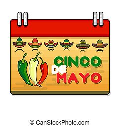 Vector illustration of Cinco ge Mayo Day. Pepper and...