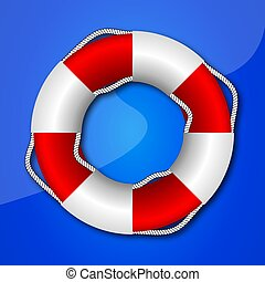 Red white life preserver - Red life buoy, vector art...