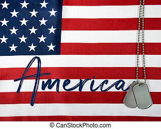 America and dog tags on flag - name America and military dog...