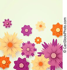 Vector Floral Background with Paper Flowers